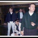 Andy, Tom, Jim and CT manager Bob Newsome outside Holiday Inn, W 57th St, New York City, May, 1964- taken by Jerre